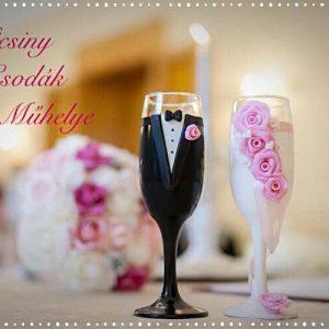 Rózsaszín rózsa pezsgős pohár