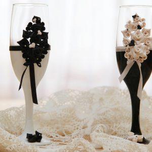 Fehér-Fekete pezsgős pohár pár