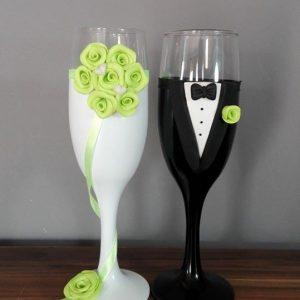 Zöld álom esküvői  pezsgős pohár