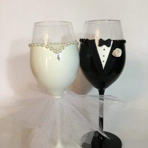 Tüll  esküvői boros pohár