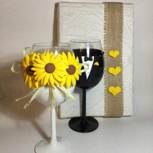 Napraforgó esküvői  boros pohár