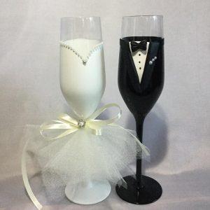 Tüll szerelem  esküvői pezsgős pohár