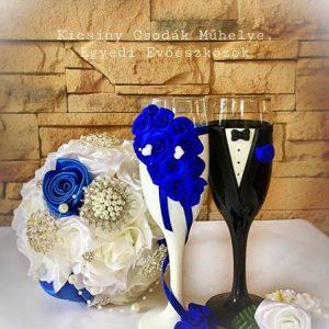 Rózsa varázs esküvői  pezsgős pohár