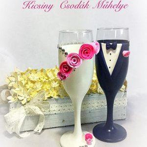 Pink álom esküvői  pezsgős pohár