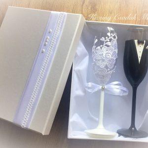 Csipke esküvői  pezsgős pohár díszdobozzal