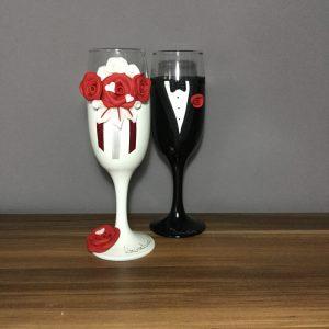 Bordó varázs  esküvői pezsgős pohár