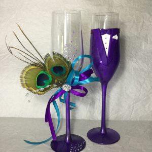 Páva toll esküvői  pezsgős pohár