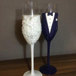 Csipke - gyöngy esküvői  pezsgős pohár