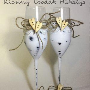 Vintage esküvői  pezsgős pohár