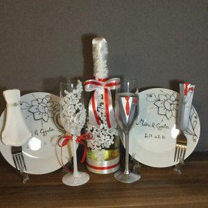 Ezüst csipke esküvői szett