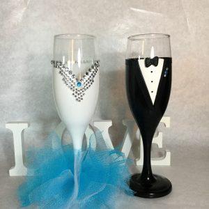 Tüll - gyöngy esküvői  pezsgős pohár