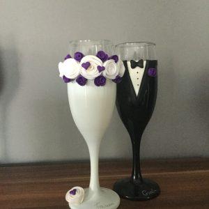 Rózsa koszorú esküvői pezsgős pohár