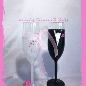 Pink szalag esküvői  pezsgős pohár