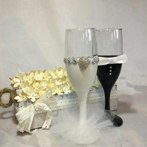 Tüll ékszer esküvői  pezsgős pohár