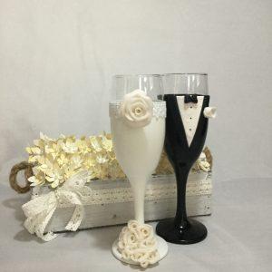 Rózsa csokor esküvői  pezsgős pohár