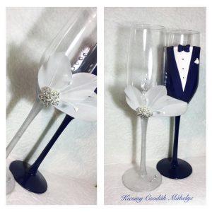 Toll varázs  esküvői pezsgős pohár