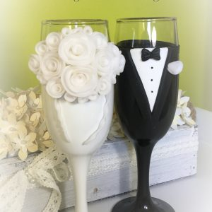 Fehér rózsa pezsgős pohár