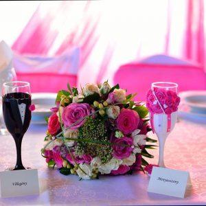 Pink szerelem  esküvői pezsgős pohár
