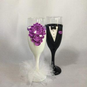 Lila tüll  esküvői pezsgős pohár