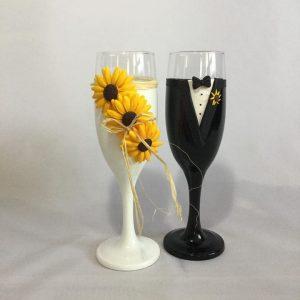 Napraforgó  esküvői pezsgős pohár 2.