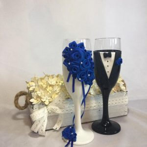 Kék rózsa esküvői  pezsgős pohár