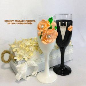 Barack rózsa pezsgős pohár
