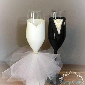 Tüll álom  esküvői pezsgős pohár