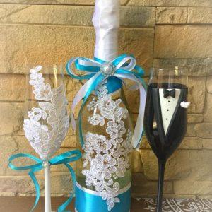 Türkiz csipke esküvői  szett