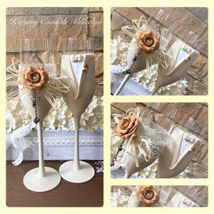 Arany-bézs  esküvői pezsgős pohár