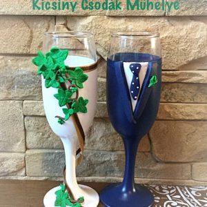 Borostyán esküvői  pezsgős pohár