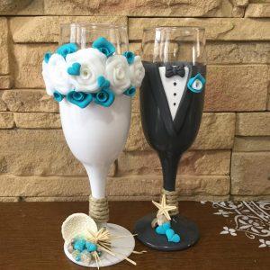 Tenger esküvői  pezsgős pohár