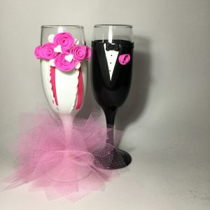 Tüll varázs esküvői  pezsgős pohár