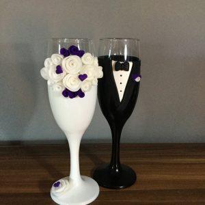Rózsa álom  esküvői pezsgős pohár
