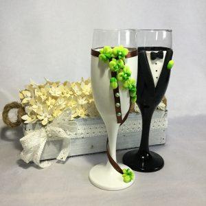 Orchidea esküvői pezsgős pohár