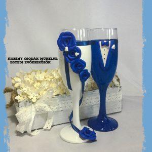 Kék rózsa pezsgős pohár