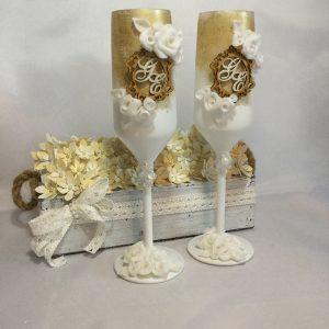 Gold roses  esküvői pezsgős pohár
