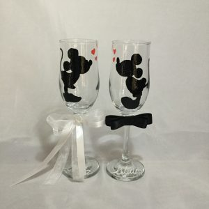 Mickey & Minnie  esküvői pezsgős pohár