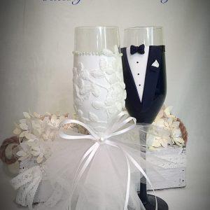 Tüll & csipke  esküvői pezsgős pohár