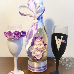 Lila rózsa esküvői szett