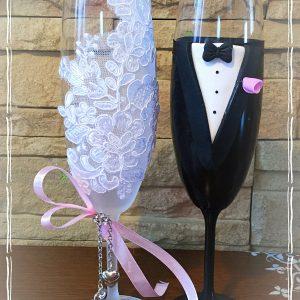 Hamvas csipke esküvői  pezsgős pohár