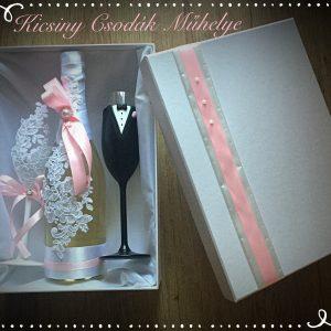 Rózsaszín csipke esküvői  szett