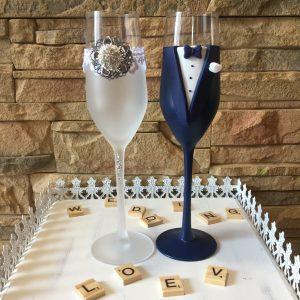 Kristály esküvői  pezsgős pohár