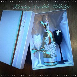 Fahéj-menta  csipke esküvői  szett