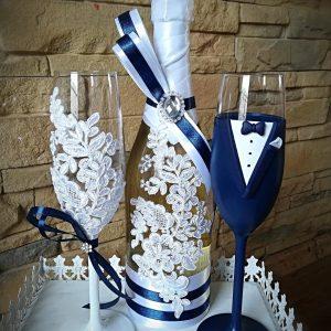 Kék csipke esküvői  szett