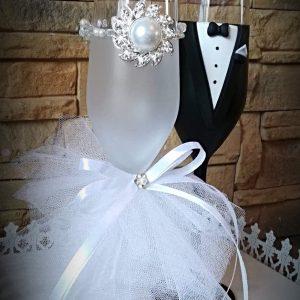 Kristály esküvői  pezsgős pohár 3.