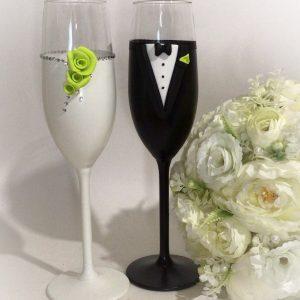 Zöld rózsa pezsgős pohár pár