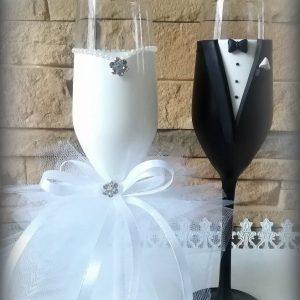 Tüll szerelem  esküvői pezsgős pohár 2.