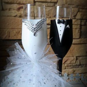 Csillogó tüll  pezsgős pohár pár