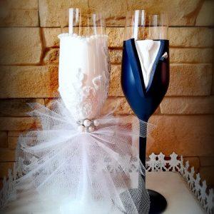 Csipke-Tüll  pezsgős pohár pár