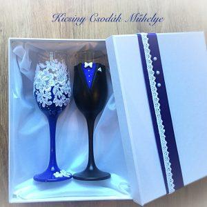 Király kék  csipke pezsgős pohár pár